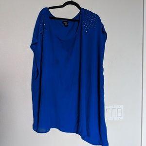 Torrid blue asymmetrical blouse